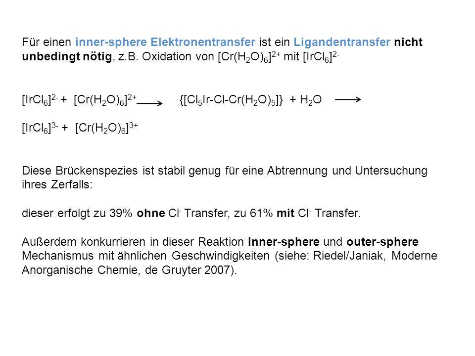 Für einen inner-sphere Elektronentransfer ist ein Ligandentransfer nicht unbedingt nötig, z.B. Oxidation von [Cr(H2O)6]2+ mit [IrCl6]2-